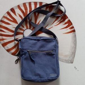Duluth Trading Co slate blue canvas crossbody bag